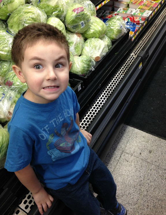 Helping me grocery shop