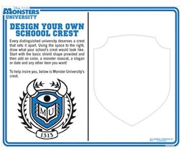 Monsters University- Design Your School Crest