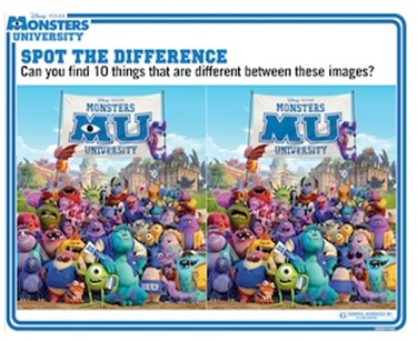Monsters University Spot the Difference