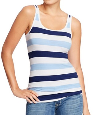 Women's Perfect Rib-Knit Tanks in Multi-Blue Stripe from Old Navy