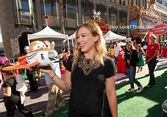 "HOLLYWOOD, CA - AUGUST 05: Actress Hilary Duff explores the Target Landing Zone at the World Premiere of ""Disney's Planes"" at the El Capitan Theatre on Aug. 5, 2013, in Hollywood, California.  (Photo by Christopher Polk/WireImage)"