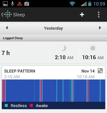 Fitbit Flex Screen Sleep Pattern