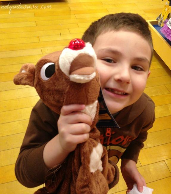 Shane making Rudolph at Build a Bear