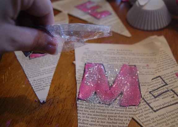 DIY Valentine's Book Page Banner- Sprinkle with Glitter