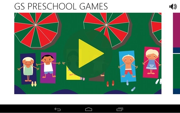 GS Preschool Games App Main Page