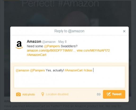 Tweet to order Pampers #AmazonCart #cbias #shop