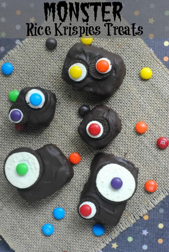 Monster Rice Krispies Treats for Halloween!