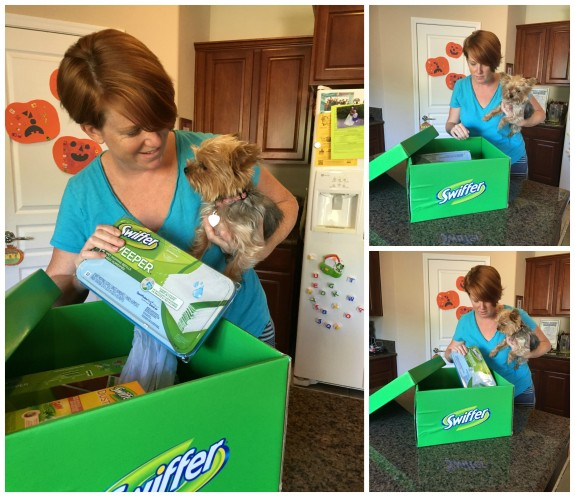 Surprising my friend with a Swiffer Big Green Box!