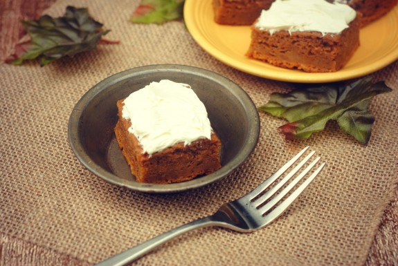 Pumpkin Spice Dessert Bars with Homemade  Cream Cheese Frosting Recipe- perfect for Thanksgiving!
