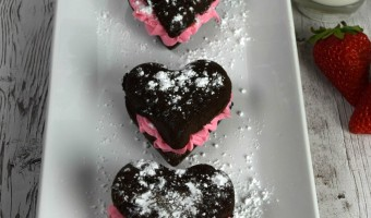 Homemade Brownies with Strawberry Frosting