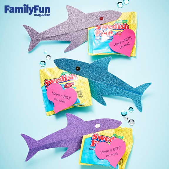 Shiny Shark Candy Cards  for Valentine's Day