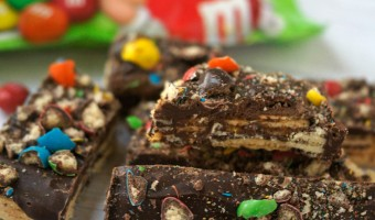 Crispy Chocolate Bark Recipe featuring M&M's® Crispy