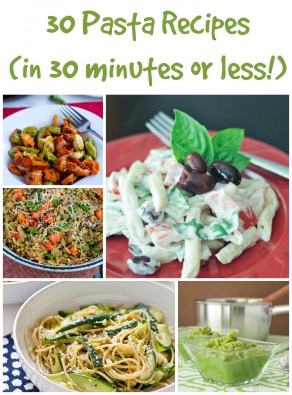 Pasta dishes can make a perfect quick and easy weeknight meal! Pick your favorite from these 30 Pasta Dishes that are all done in 30 minutes or less. Recipes include one pot, shrimp, chicken, carbonara, homemade sauce, and more- with some great healthy options for summer too.
