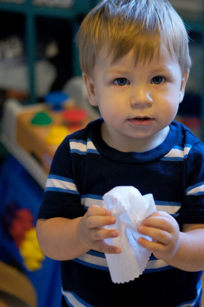 Zachary with Huggies Wipes