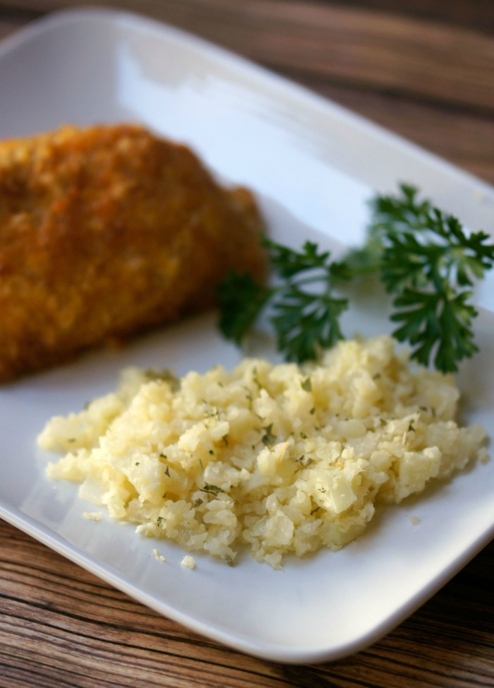 Garlic Onion Cauliflower Rice And Barber Foods Chicken Kiev
