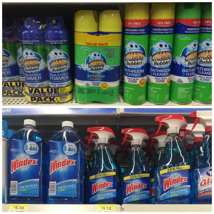 Scrubbing Bubbles and Windex at Walmart