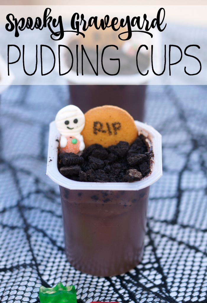 Spooky Graveyard Pudding Cups- Easy Halloween Recipe that helps use up leftover candy!