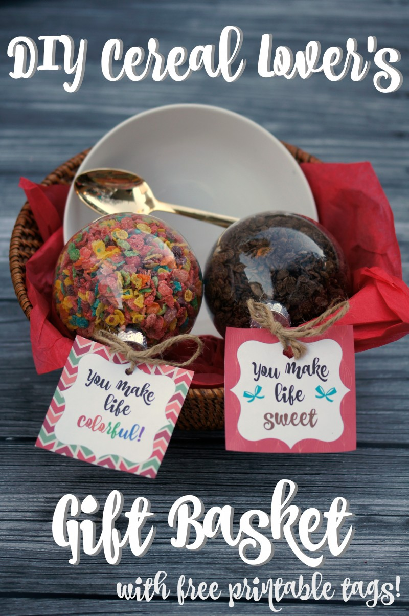 DIY Cereal Lover's Gift Basket with Free Printable Tags!