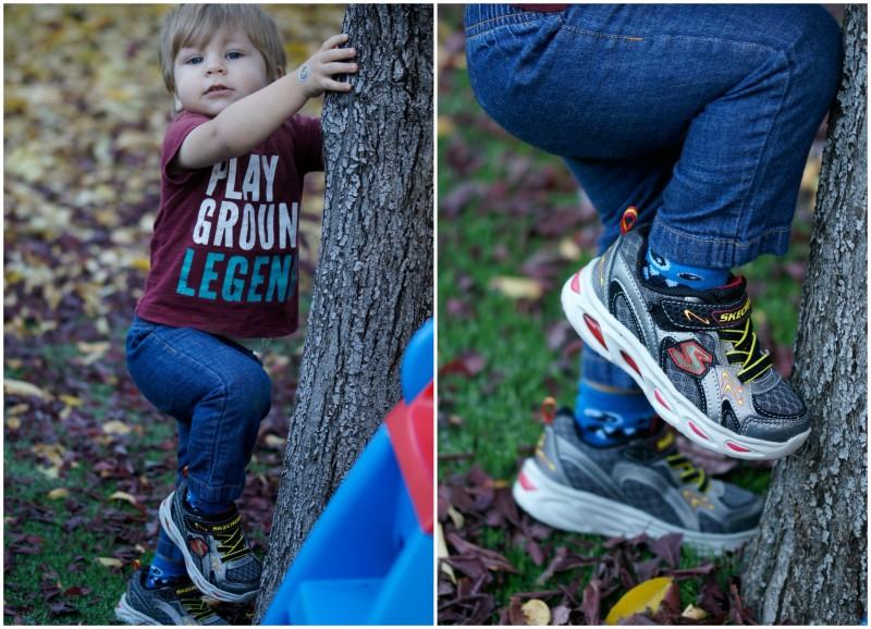 Zac climbing trees