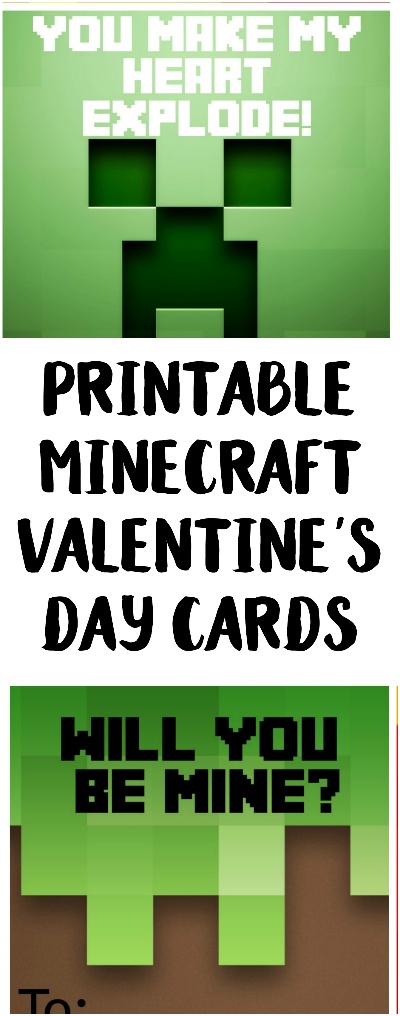 photograph regarding Minecraft Printable Valentines titled Cost-free Printable Minecraft Valentines Working day Playing cards - Not Really