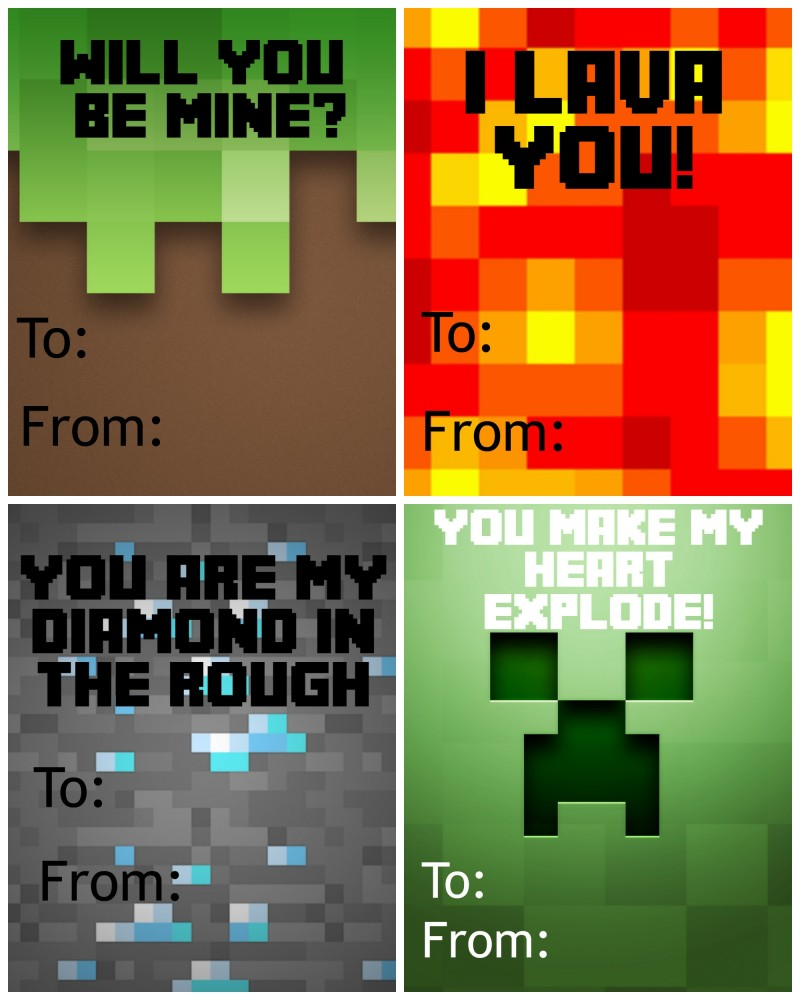 photo relating to Printable Minecraft identified as Cost-free Printable Minecraft Valentines Working day Playing cards - Not Reasonably