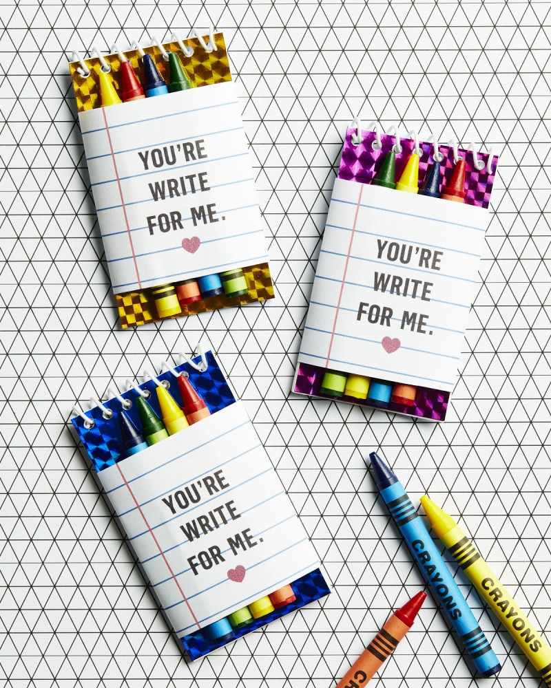 Crayon and Notepad Valentine's Day gift- free printable!