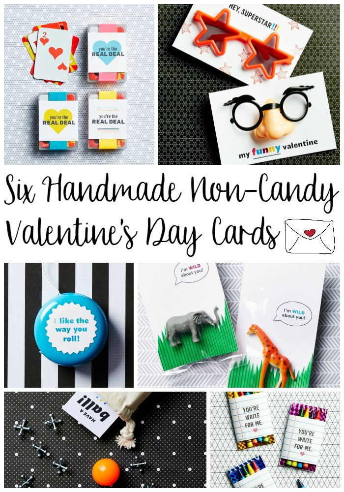 Six Handmade Non-Candy Valentine's Day Cards with Free Printables!