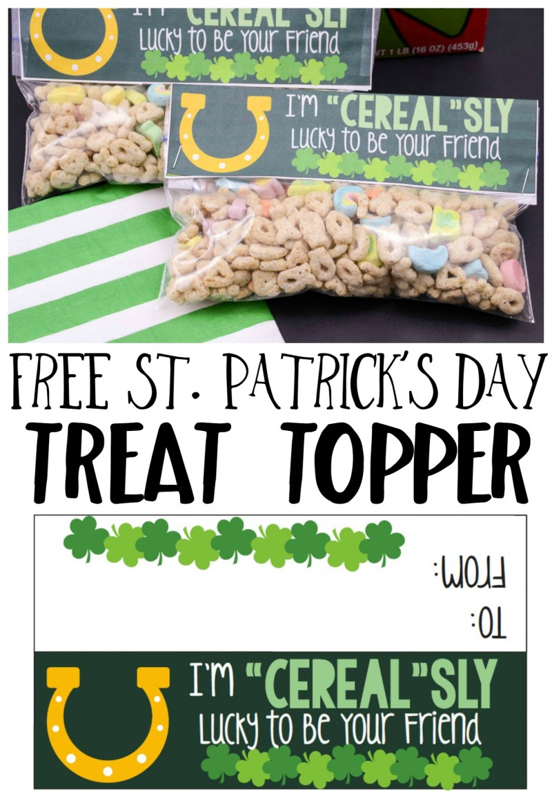 Free Printable St. Patrick's Day Treat Topper