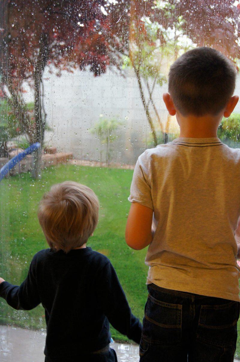 Kids looking at the rain