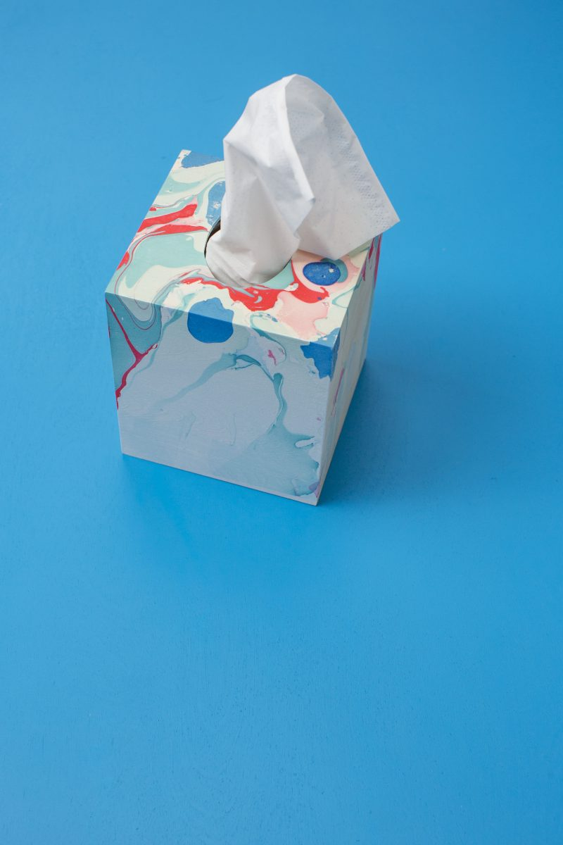 DIY Marbleized Tissue Box Teacher Gift