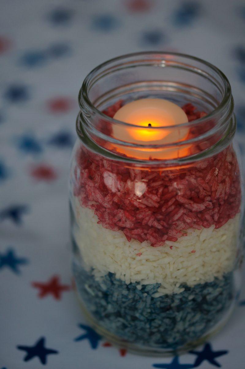 DIY Upcycled Mason Jar Candle Holder Glowing at Night
