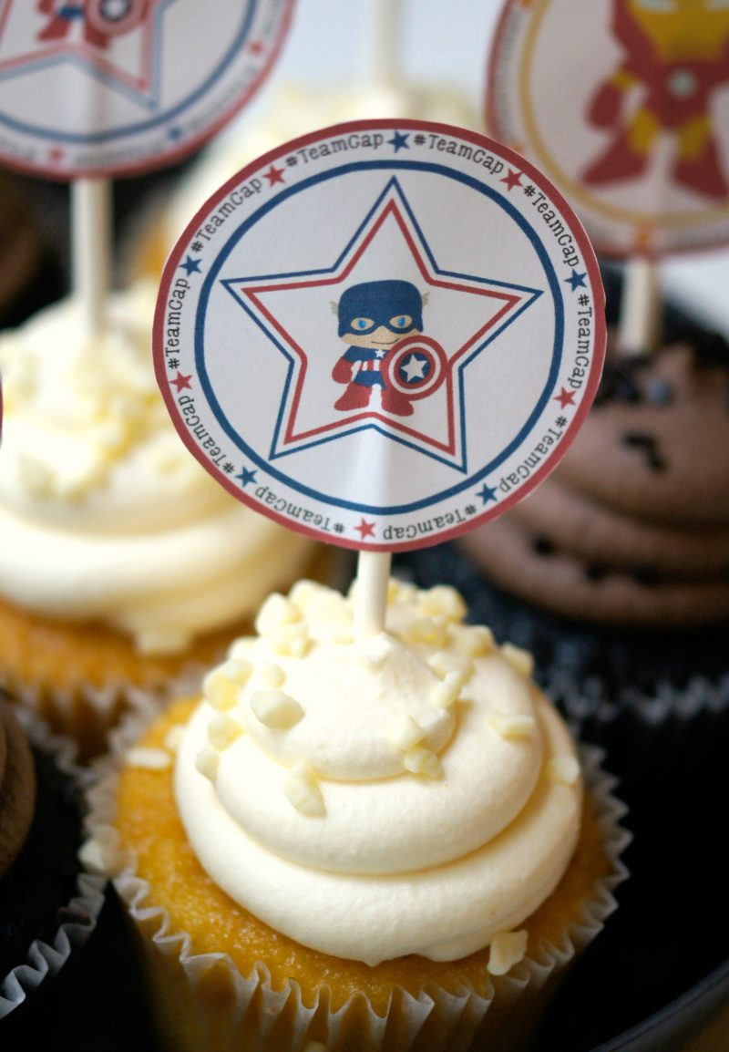 Free Printable Captain America Cupcake Toppers- Team Cap Cupcakes to Celebrate Captain America Civil War!