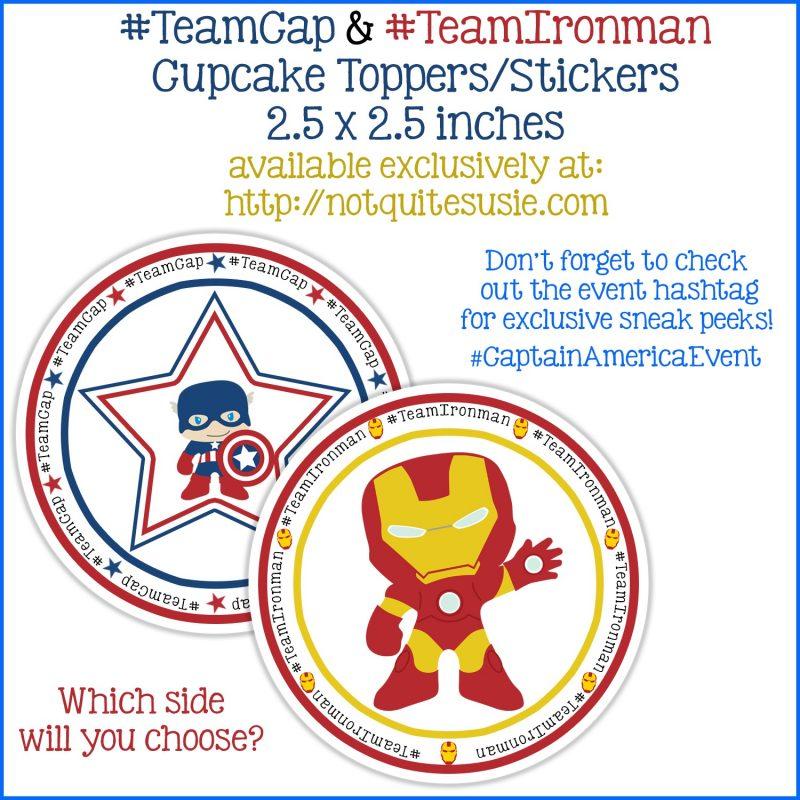 Free Printable Captain America Cupcake Toppers- Team Cap and Team Iron Man Cupcakes to Celebrate Captain America Civil War!