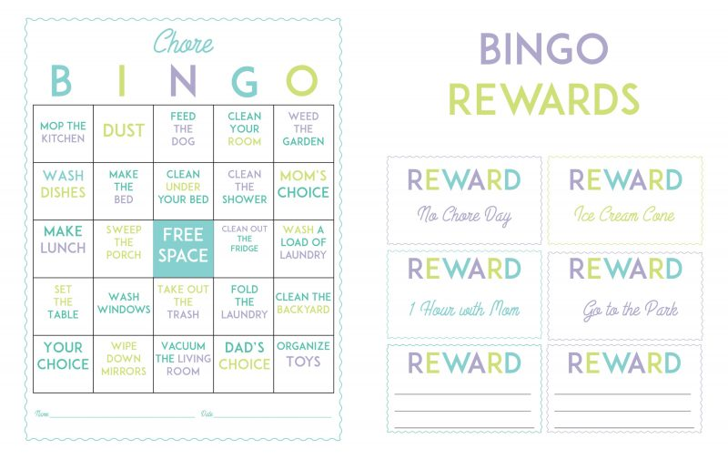 Free Printable Chore Bingo Game Board and Rewards Coupons