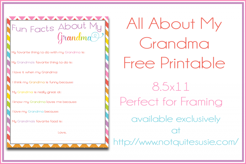photo regarding All About My Grandma Printable named Exciting Information Over Grandma Printable for Moms Working day! - Not