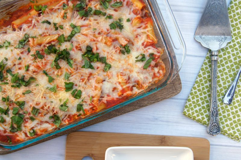 Need an easy, meatless baked ziti recipe? This one features mozzarella, ricotta, parmesan and fresh basil and it's so good, you won't even miss the meat!