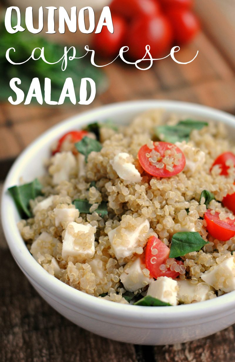 Need an easy lunch idea that you can bring to work? This Quinoa Caprese Salad is served cold so you don't need a microwave, and it's healthy, too! With just a few ingredients, this Mediterranean-inspired lunch salad is one of my favorite recipes.