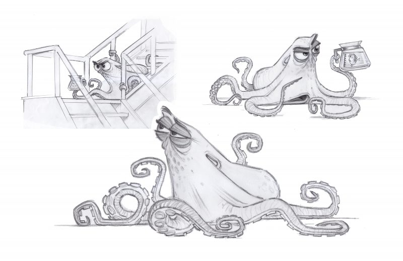 Hank Design (Concept Art) by Character Designer Jason Deamer. ©2016 Disney•Pixar
