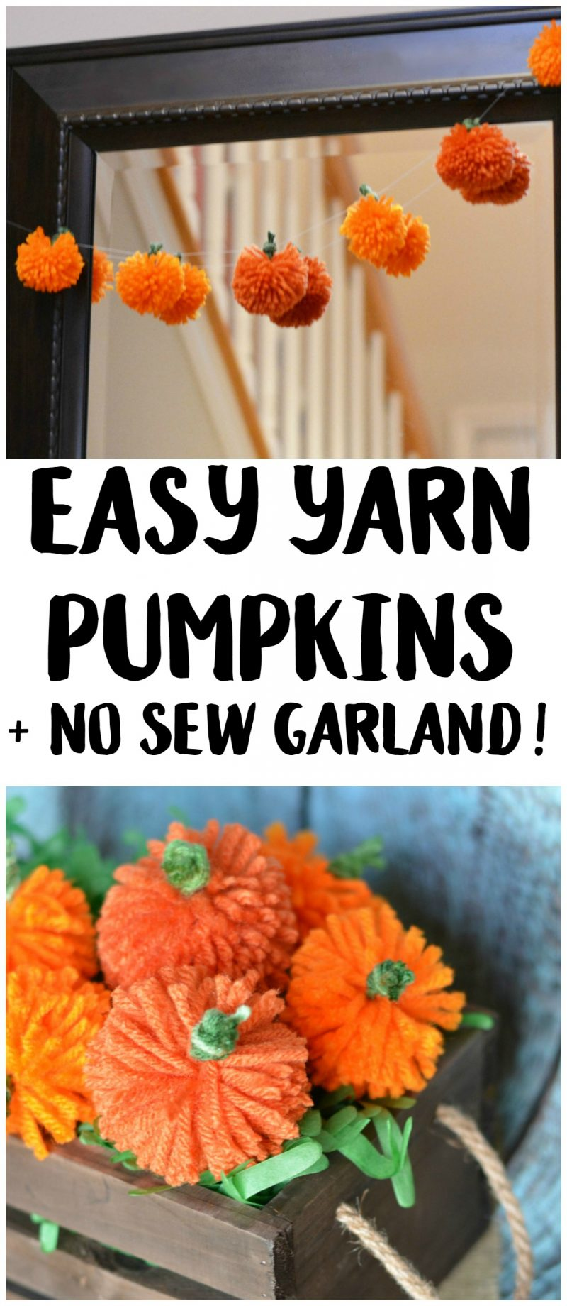 fall halloween craft ideas easy diy yarn pumpkins no sew pumpkin garland not 4419