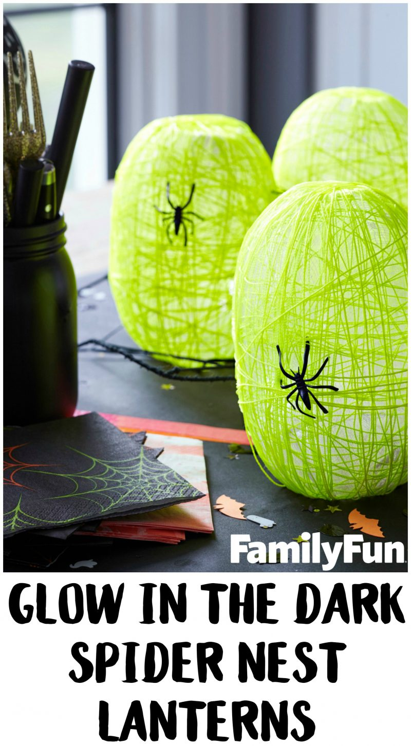 Looking for easy DIY Halloween crafts and decorations ideas? These Glow in the Dark Spider Nest Lanterns are just the right amount of scary for kids and teens alike- and they're perfect for Halloween party decor!