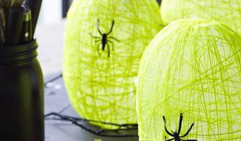 DIY Glow in the Dark Spider Nest Lanterns