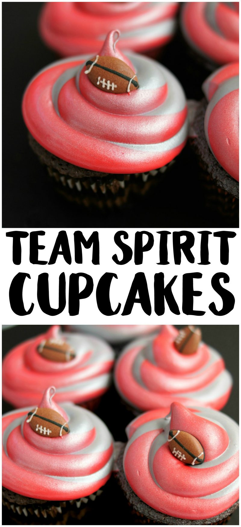 Looking for easy cupcakes ideas for the next football game or kids sports birthday party? These Team Spirit cupcakes are easy to DIY and can be customized with your favorite team's colors {whether it's the NFL or college} and your favorite cake flavor!