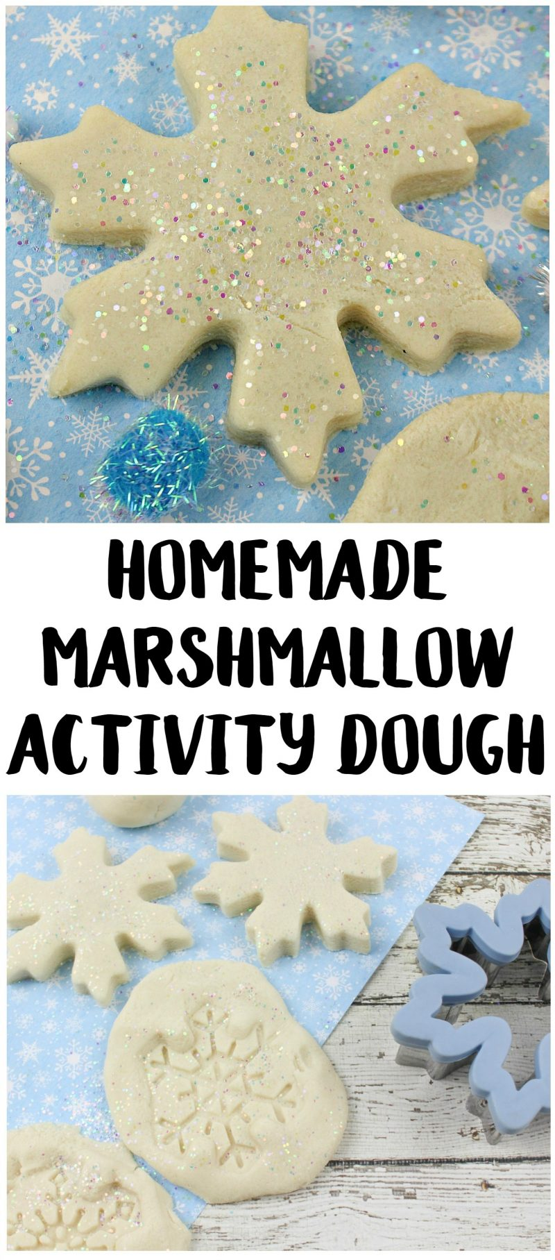 Kids and toddlers alike will love this fun DIY Marshmallow Scented Activity Dough! It's a super soft playdough recipe that's crazy easy to make {without cream of tartar- just a few simple ingredients!} and it's no cook so the kids can even help!