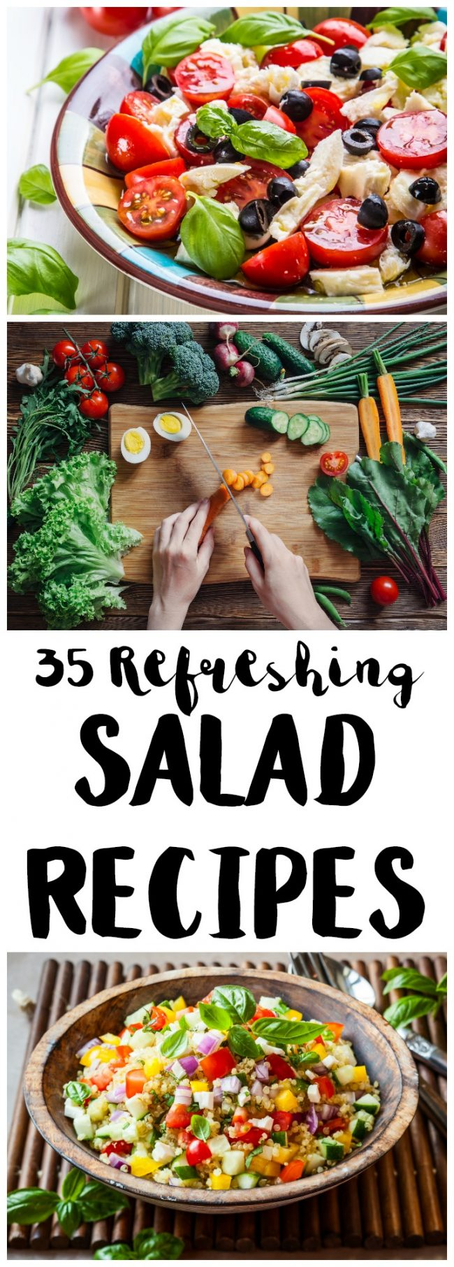 My favorite food in the summer is salads! They are light, easy, and healthy and just taste so good. They are also easy to customize, as evidenced by these 35 refreshing salad recipes! These salads are filling enough to eat for dinner and range from a simple chopped cobb salad to various chicken and pasta salads to anything else green you could think of!