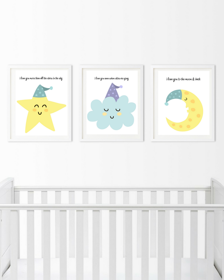 graphic relating to Free Printable Nursery Art named Cost-free Nursery Artwork Prints: I Delight in On your own In the direction of The Moon And Back again