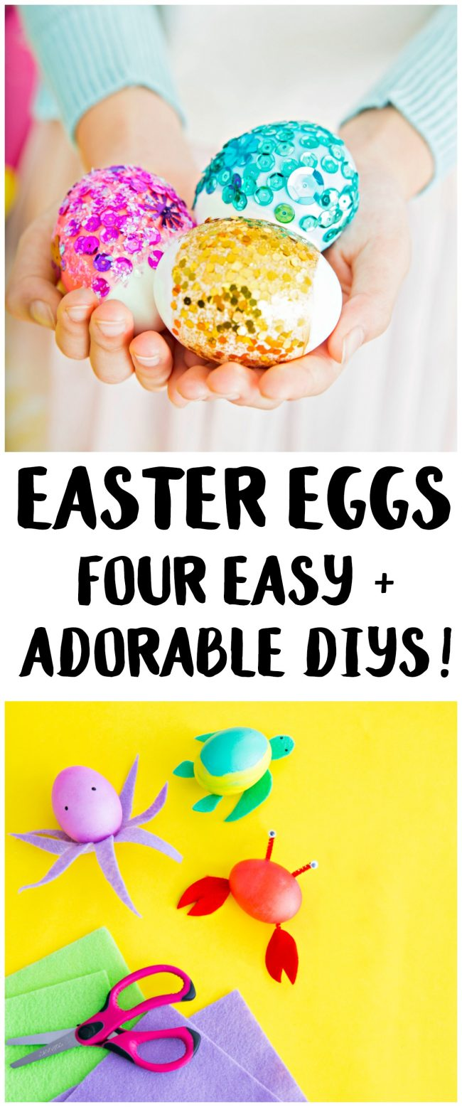 If you're bored of just using vinegar and dye on your Easter eggs every year, switch it up and learn how to make one of these fun and creative ideas for kids! These designs are easy to make and take only a few supplies {like paint and pipe cleaners} so you can have DIY Easter eggs to use for egg hunts and even decorations! Use craft or plastic eggs to make them last for years- decorating eggs has never been so fun!