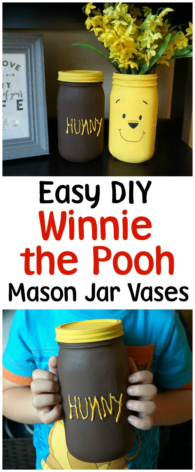 Winnie the Pooh is full of so many adorable characters and memorable quotes- and Disney's Christopher Robin is sure to be the same! I can't wait to visit the Hundred Acre Wood again and to celebrate, I made these adorable painted DIY mason jar vases featuring Winnie the Pooh and his Hunny Pot. You could use these vases for flowers, as a centerpiece for a baby shower, or as storage in the nursery for baby keepsakes! The vases can even be repurposed for older kids as bathroom storage!