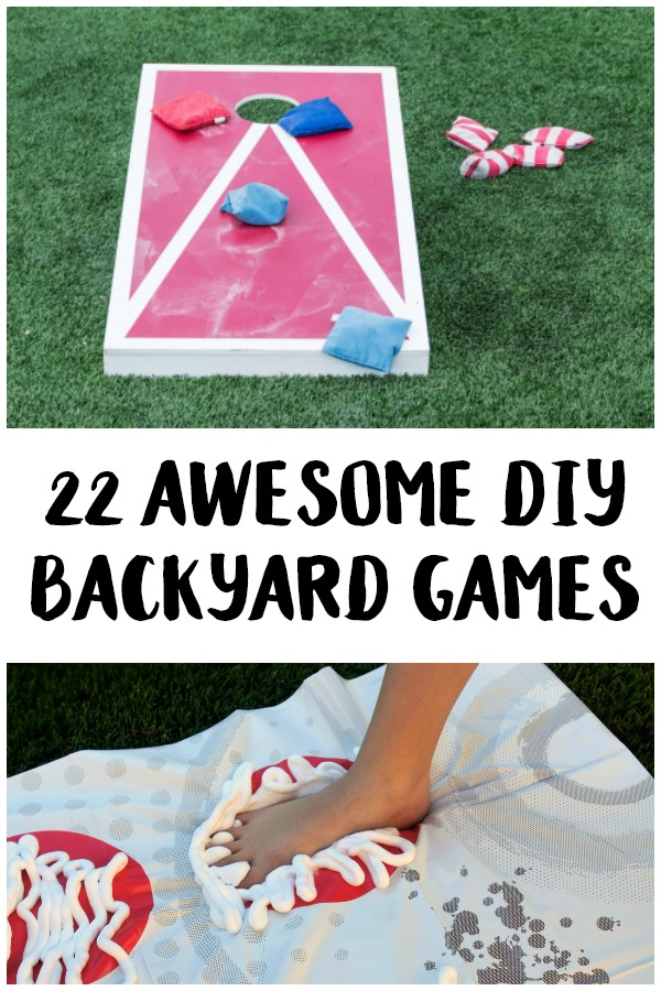 Looking for new ways to make fun outdoor summer memories? Check out these fun DIY Backyard Games you can make and play right in your own backyard! This list has something for everyone, from toddlers to kids to teenagers to adults- things like giant versions of your favorite games! These ideas would be great for easy party entertainment or just a cheap family game night.