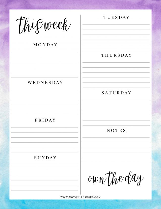 Easily keep track of your daily and weekly college, work or personal life obligations with this free printable weekly planner sheet! Print one for each week and have fun with them- add stickers, DIY a planner notebook, or whatever you'd like! Grab the completely free download now and save this pin for when you need more!