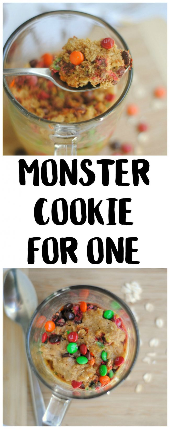 Is your sweet tooth craving something yummy? Try one of these super easy Monster Cookies! Make them with just a few ingredients- they take just one minute in the microwave and you can make them in your favorite cute mug! They have peanut butter {you can omit to make them peanut-free}, oats, and of course, M&M's candy.